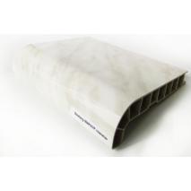 Подоконник ПВХ  Sauberg  600х1000 ламинация  глянец белый мрамор