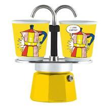 Подарочный набор Bialetti Set Arte: гейзерная кофеварка Mini Express (2 cup) + 2 кофейных стаканчика