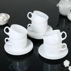 Чайный сервиз белый из стеклокерамики Luminarc Peps Evolution 6х220 мл (63368)