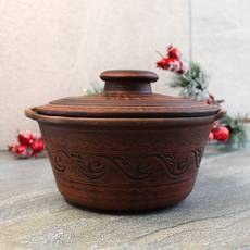 Гончарна супниця з червоної глини 1,2 л різьблена, українська кераміка
