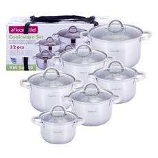 Набір каструль Kamille з нержавіючої сталі 12 предметів посуд для приготування їжі для індукції