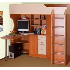 Кровать-чердак с компьютерным столом