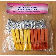 Мотузка для білизни 10м + прищіпки 10 шт