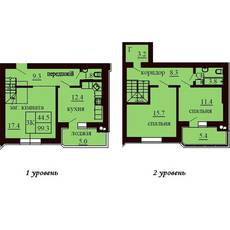 Двухуровневая квартира площадью 99,3 м2