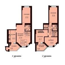Двухуровневая квартира площадью 132,9 м2