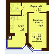 Однокомнатная квартира общей площадью 39,7 м2
