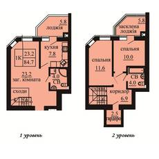Двухуровневая квартира площадью 84,7 м2