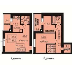 Двухуровневая квартира площадью 89,6 м2