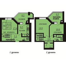 Двухуровневая квартира площадью 87,1 м2