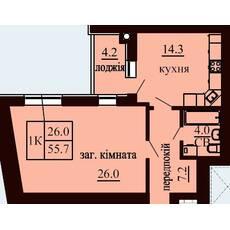 Однокомнатная квартира общей площадью 55,7 м2