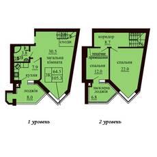 Двухуровневая квартира площадью 105,3 м2