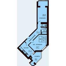 Двокімнатна квартира загальною площею 74,7 м2