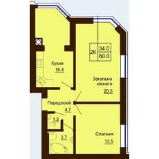 Двокімнатна квартира загальною площею 60,0 м2