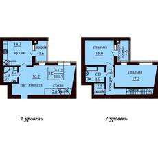 Двухуровневая квартира площадью 111,9 м2