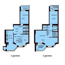 Дворівнева квартира площею 145,5 м2