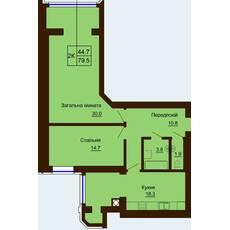Двокімнатна квартира загальною площею 79,5 м2
