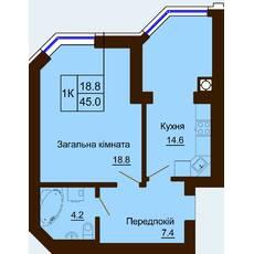 Однокомнатная квартира общей площадью 45,0 м2