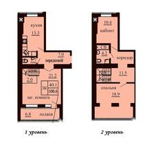 Двухуровневая квартира площадью 100,6 м2