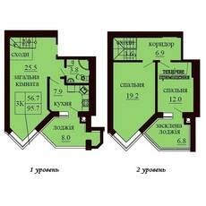 Дворівнева квартира площею 95,7 м2