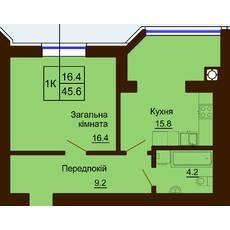 Однокомнатная квартира общей площадью 45,6 м2