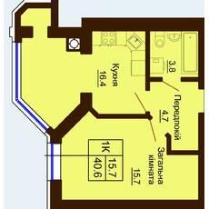 Однокомнатная квартира общей площадью 40,6 м2