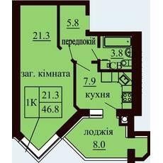 Однокімнатна квартира загальною площею 46,8 м2