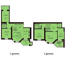 Двухуровневая квартира площадью 171,3 м2