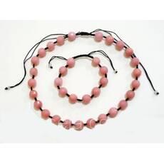 Набор бусы и браслет Шамбала розовый