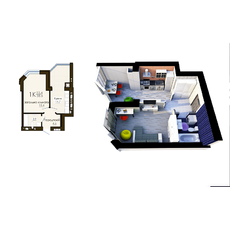 """Однокімнатна квартира в ЖК """"Софія Резидент"""", 38.6 м2, купити"""