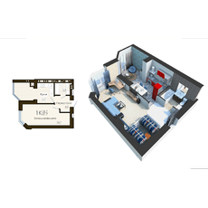 """Однокімнатна квартира в ЖК """"Софія Резидент"""", 41.7 м2, купити"""