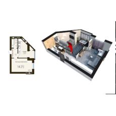 """Однокімнатна квартира в ЖК """"Софія Резидент"""", 41.3 м2, купити"""