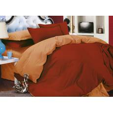 Комплект Двухстороннего постельного белья Винный + Медовый