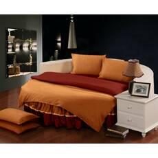 Комплект постільної білизни з цільним простирадлом-підзором на Кругле ліжко Медовий + Винний