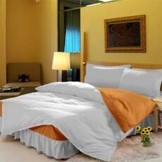 Комплект постельного белья с цельной простынью - подзором Белый + Медовый