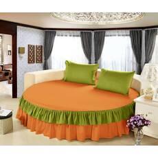 Простирадл цілісна - підзор на Кругле ліжко Модель 6 Медовий   Салатовий