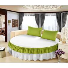 Простирадл цілісна - підзор на Кругле ліжко Модель 6 Білий   Салатовий