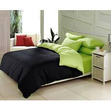 Комплект постельного белья Двухстороннее Черный + Салатовый