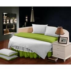 Комплект постільної білизни з цільним простирадлом-підзором на Кругле ліжко Білий + Салатовий