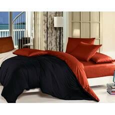 Комплект Двухстороннего постельного белья Черный + Винный