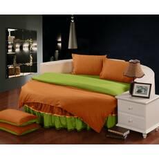Комплект постельного белья с цельной простынью - подзором на Круглую кровать Медовый + Салатовый
