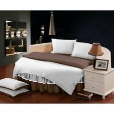 Комплект постельного белья с цельной простынью - подзором на Круглую кровать  Белый + Порох