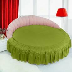 Цільне простирадло-підзор на кругле ліжко Модель 1  Салатовий