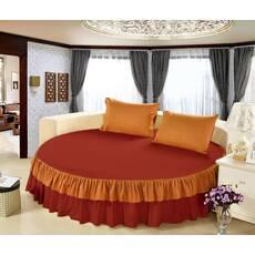 Цільне простирадло-підзор на кругле ліжко Модель 6  Винний + Медовий