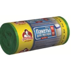 """Пакети для сміття ТМ """"Помічниця""""  60л 40шт HDPE, 60см х 70см, зелені"""