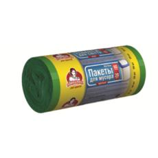 "Пакеты для мусора ТМ ""Помощница""  60л 20шт HDPE, 60см х 70см, зеленые"