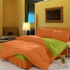 Комплект постельного белья с цельной простынью - подзором Медовый + Салатовый