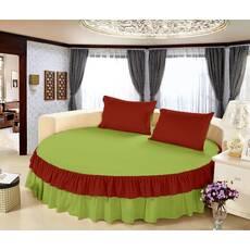 Цельная простынь-подзор на круглую кровать Модель 6  Салатовый + Винный