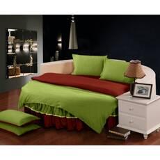 Комплект постельного белья с цельной простынью - подзором на Круглую кровать Салатовый + Винный