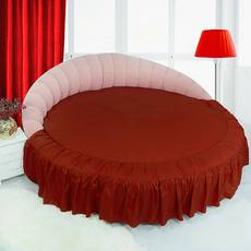 Цельная простынь-подзор на круглую кровать Модель 1 Винный