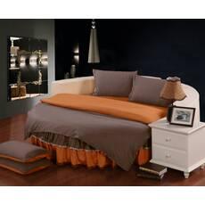 Комплект постільної білизни з цільним простирадлом-підзором на Кругле ліжко Порох + Медовий